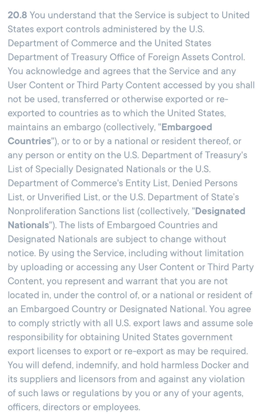 Docker 服务禁止被列入美国实体名单的国家、企业使用
